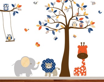 Children's jungle wall decal tree,nursery wall decal,tree decal,elephant,giraffe,lion,birds and owls