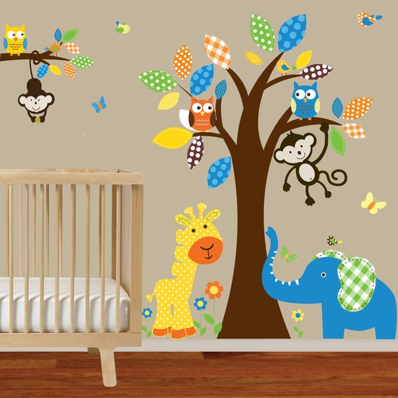 Boy nursery wall decal jungle decals baby nursery by for Baby boy wall mural