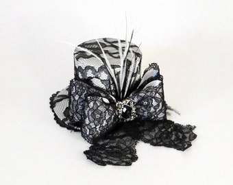 Mini Top Hat Black and White Photo Prop or Special Occasion Accessory