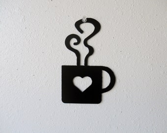 Coffee Heart Mug Metal Wall Art Kitchen Decor