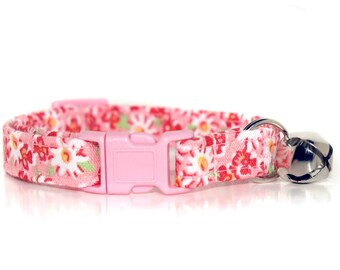 Petunia, Pink Floral Cat Collar, with pink breakaway buckle