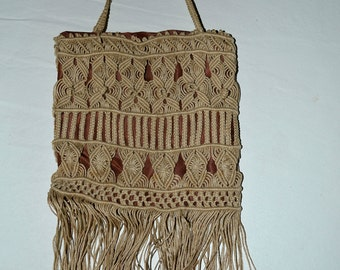 Vintage Edwardian macrame Handbag with Silk Lining