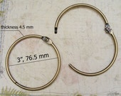 2 pcs 3 inch antique brass BRUSH openable wrist ring for wristet clutch, keychain holder