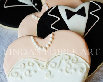 Gown and Tuxedo Hearts (1 Dozen)