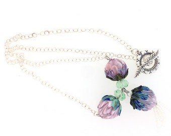 Purple Bouquet Artisan Lampwork Peony Necklace        (12-0076)