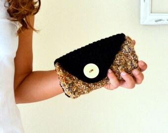 50% OFF Crochet Clutch Crochet Wallet Handbag Purse Black Rust Orange Evening Clutch