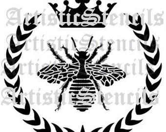 STENCIL French Queen Bee Wreath Crown 10x10