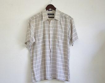 Vintage Van Heusen Shirt, 80s Mens Shirt, Mens Button Up Plaid Shirt, Short Sleeve Collared Shirt, 1980s Mens Shirt, Large XL