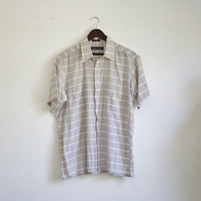 Vintage van heusen shirt 80s mens shirt mens button up plaid for Van heusen plaid shirts