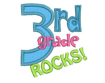 3rd Grade Rocks Applique Machine Embroidery Designs