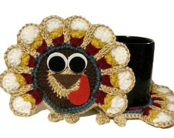 Thanksgiving Coasters, Crochet Turkeys, Light Colored Thanksgiving Turkey  Decorations, Set Of 2 Fall