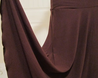 "Ladies Long Modest Solid CHESTNUT BROWN  Stretch Knit Jersey Maxi skirt for Missionary, Travel, or Leisure Wear,  S/M, 36"" long"