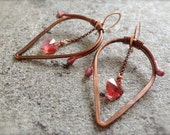 Hammered Organic Copper Earrings with Swarovski Crystal BLEEDING LOVE  * * * Free Shipping (U.S.)