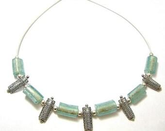 Stunning One Of A Kind  925 Silver Hand Made yemenite  Filigree Bluish Roman Glass Necklace