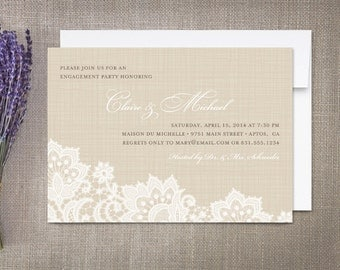 Linen and Lace Engagement Party Invitations