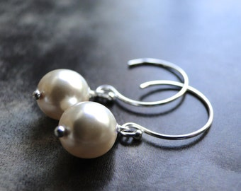 Champagne Pearls, Statement Earrings, Classic Pearl Earrings Sterling Silver Hoops, Gift for Her, Accessories, Classic Pearls, Gift Box