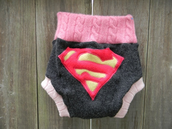 Upcycled Wool Soaker Cover Diaper Cover With Added Doubler Black/Pink With Super Girl Applique LARGE 12-24M Kidsgogreen