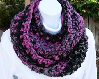 INFINITY SCARF Loop Cowl Black Gray Grey Pink, Color Choices, Thick Soft Bulky Chunky Crochet Knit Winter Circle..Ready to Ship in 2 Days