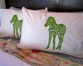 Screen Printed Pillowcases (set of 2 standard) - Pillow Covers - Eco Friendly Bedding - Zebra - Natural Cotton Pillowcase - Handmade