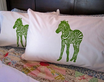 Screen Printed Pillowcases (set of 2 standard) - Pillow Covers - Eco Friendly Bedding - Zebra - Natural Cotton Pillowcase - Handmade