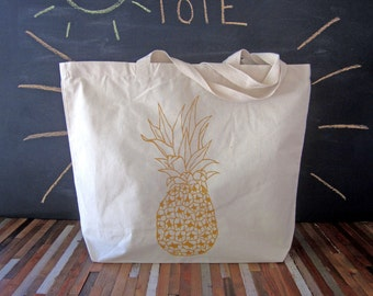 Canvas Tote - Screen Printed Recycled Cotton Grocery Bag - Large Tote Bag - Market Tote - Reusable and Washable - Eco Friendly - Pineapple