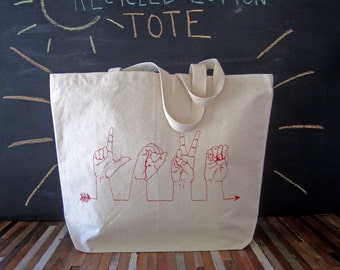 Canvas Tote Bag  - Screen Printed Recycled Cotton Grocery Bag - Large Tote Bag - Market Tote - Reusable and Washable - Eco Friendly - Love