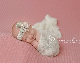 Stretch Lace Wrap Ivory Cream Newborn Photography Prop Baby Swaddle