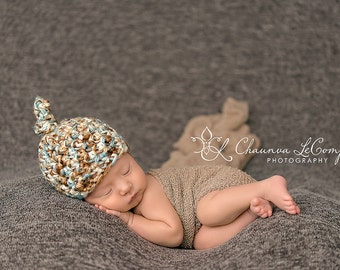 SET Blue Brown Newborn Knot Hat & Stretch Knit Wrap Photography Prop