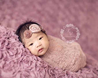 Mauve Stretch Lace Wrap Newborn Photography Prop Baby Swaddle