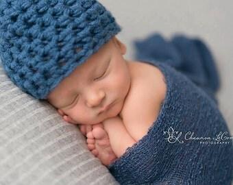 SET Denim Blue Newborn Hat and Stretch Knit Wrap