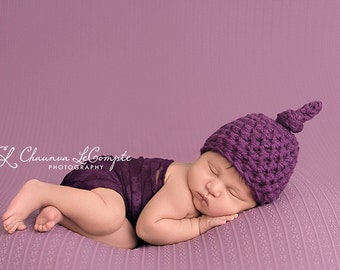 Purple Baby Knot Hat Newborn Photography Prop