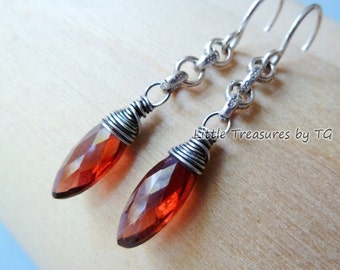 Red Garnet drop earrings. January Birthstone earrings. Wire wrapped handmade earrings. Garnet jewelry. Pure silver. Fine jewelry