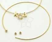 BR-004-GD / 2 Pcs - Ball End Free Size Bracelet (Open Type), 16K Gold Plated Wire Bangle / 0.9mm