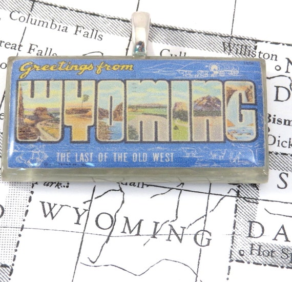 Greetings from WYOMING Vintage Large Letter Postcard Pendant
