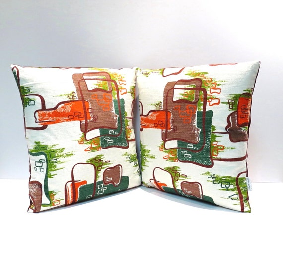 Pair of Vintage Mid-Century Atomic Barkcloth Pillows Abstract Chocolate Brown