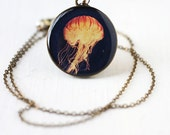 Jellyfish Art Pendant Necklace - Glowing Yellow and Orange Jellyfish Photo Pendant, Nautical, Marine Life