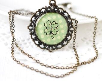 Green Four Leaf Clover Hand Drawn Art Pendant Necklace, Original Drawing - St Patricks Day, Green Polka Dot Paper