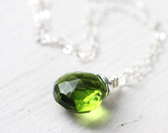 Peridot Green Necklace, Bright Green Quartz Wire Wrapped in Sterling Silver, August Birthstone
