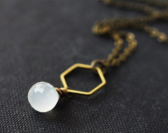 White Chalcedony Necklace Wire Wrapped in Antique Brass, Hexagon Connector Simple Gemstone Necklace, Geometric Geometry Honeycomb Shape