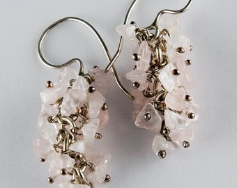 Cluster of Rose Quartz Earrings