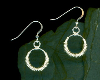 Silver Circle Wire Wrapped Sterling Earrings Dangle Earrings