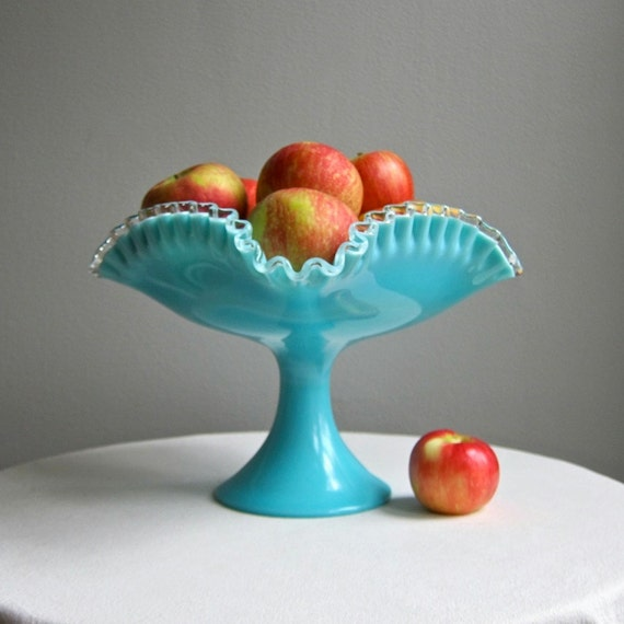 Silver Crest Turquoise Milk Glass Footed Bowl by Fenton 1950s Large Compote Centerpiece