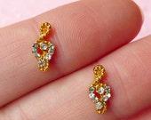 Mini G-clef Music Note Cabochon (2pcs) (Gold w/ Clear Rhinestones) Fake Miniature Cupcake Topper Earring Making Nail Art Decoration NAC076