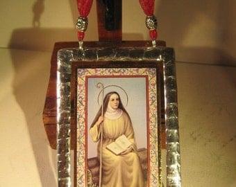 Saint Monica Widow Stained Glass Holy Prayer Card Keepsake