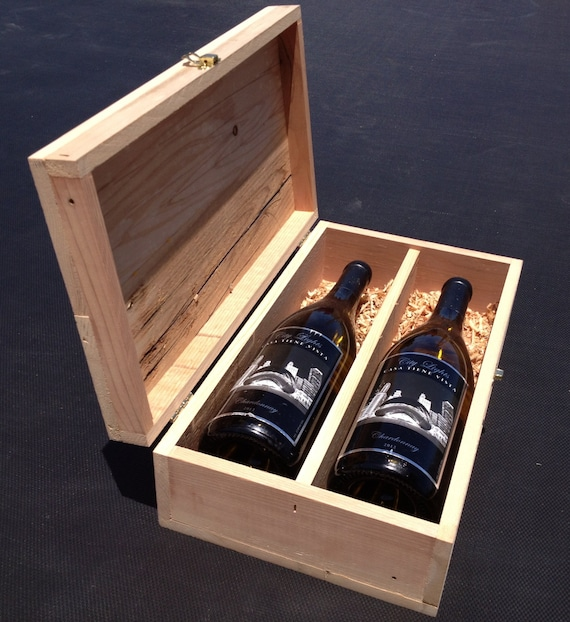 New Years Gift Handmade Wooden Wine Box Rustic, Reclaimed, Upcycled Cedar