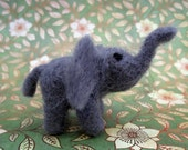 Little Needle Felted Elephant, Zoo, Circus, Gray, Grey, One of a Kind