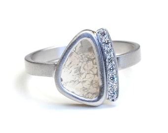 Diamond Ring, Diamond Slice Ring, Engagement Ring, Diamond Slice Engagement Ring, White Gold Diamond Ring, Organic Ring, OOAK, Nixin