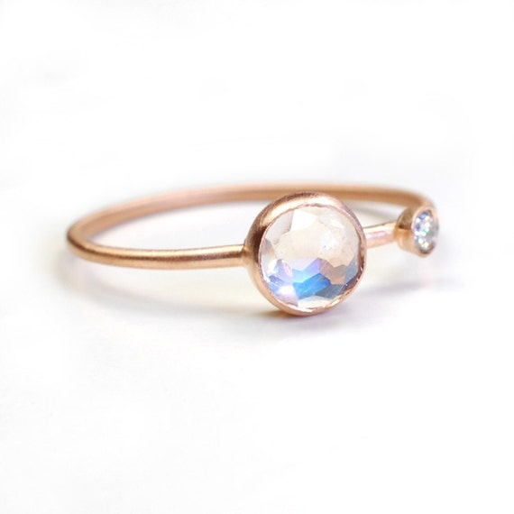 Moonstone Ring, Engagement Ring, Rose Cut Moonstone Ring, Moonstone Diamond  Ring, Asymmetrical