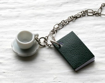 Book and Tea Cup Necklace, Forest Green Book Necklace, Miniature Book Necklace, Teacup Necklace, Coffee Cup Necklace , Book Necklace