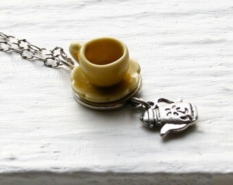 Tea Cup Necklace - Yellow